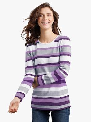 Pullover - paars + paars gestreept
