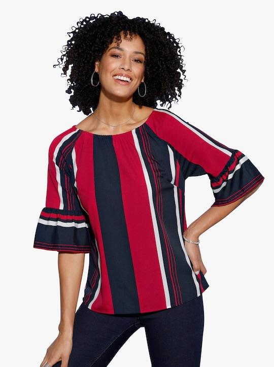Comfortabele blouse - marine/rood gestreept