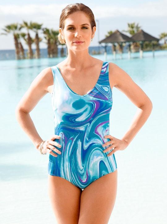 feel good Badeanzug - blau-bedruckt