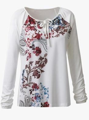 Shirt - ecru-marine-bedruckt