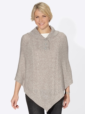 Strickponcho - taupe-meliert