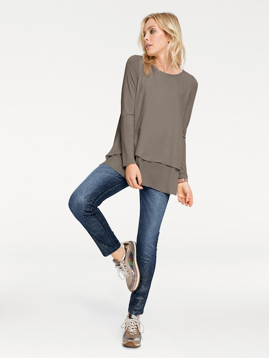 Linea Tesini Rundhals-Shirt - taupe