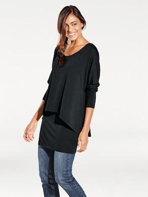 Linea Tesini Rundhals-Shirt - schwarz