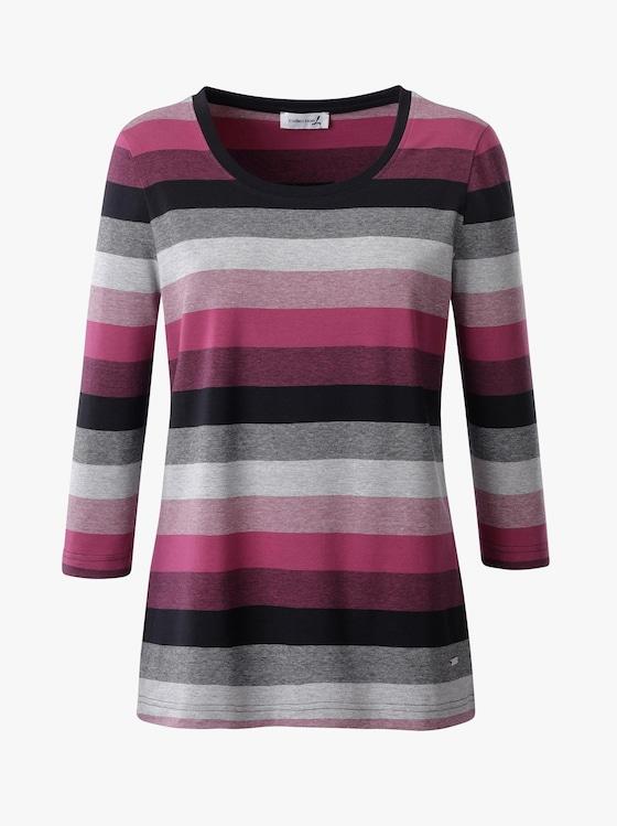 Collection L Shirt - beere-schwarz-gestreift