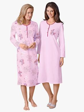 Langarm-Nachthemden - rosé + rosé-bedruckt