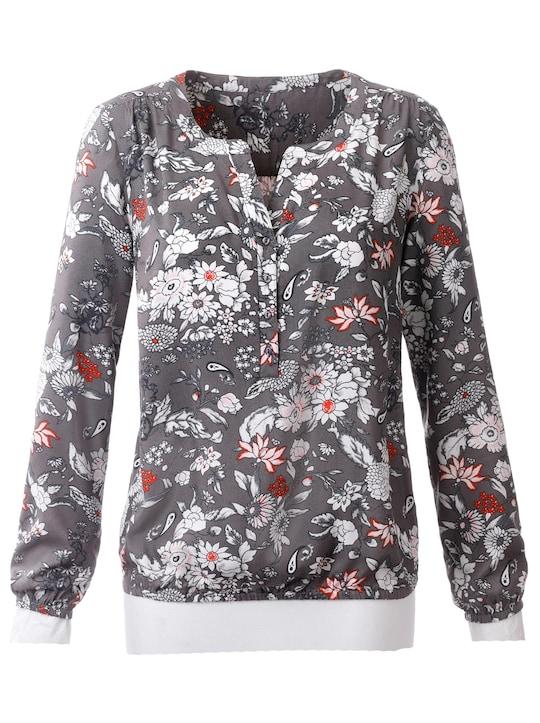 Comfortabele blouse - grijs/ecru gedessineerd