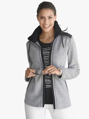 Fleece-Jacke - grau-schwarz