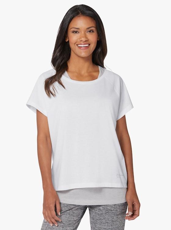Freizeitshirt - weiß + grau