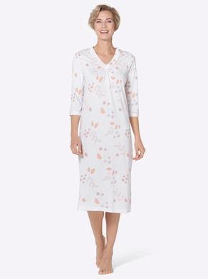 wäschepur Nachthemd - weiß-apricot