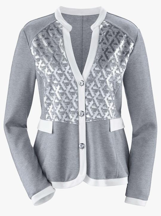 Blazer - grau-weiß