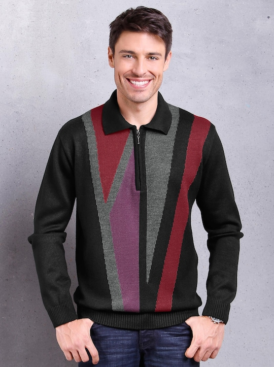 Pullover - schwarz-gemustert