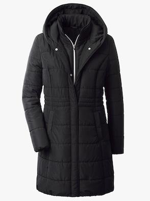 Doorgestikte mantel - zwart