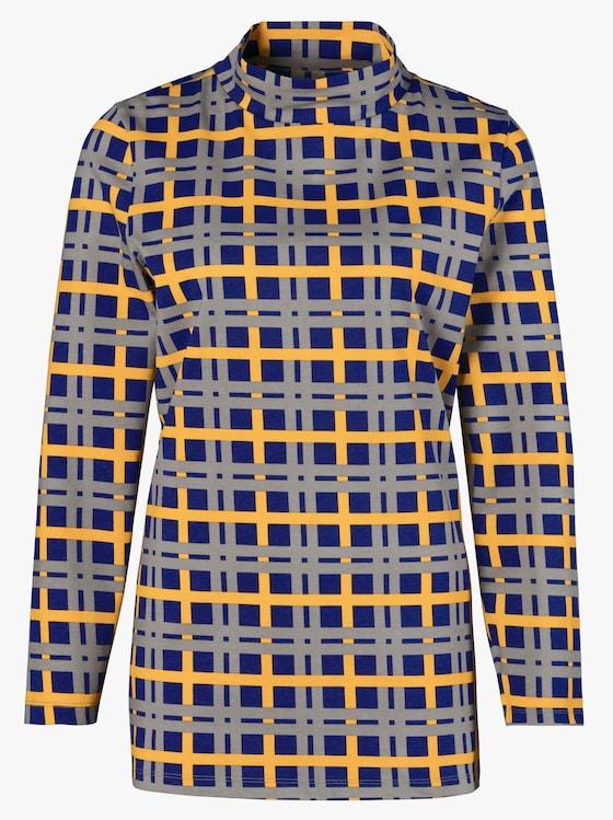 Longshirt - blau-kariert