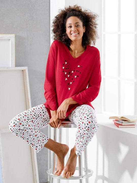 Comtessa Schlafanzug - rot-weiß-gemustert