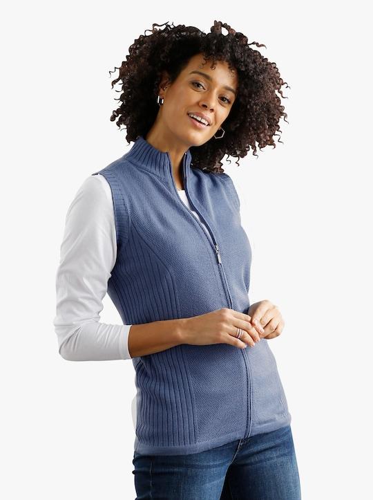 Pletená vesta - modrá-melír