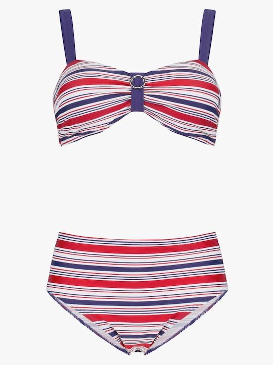 feel good Bikini - marine-rot-gestreift