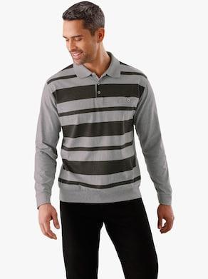 Poloshirt - hellgrau-meliert-gestreift