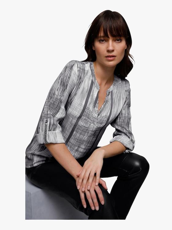 Cupro-Viskose-Bluse - grau-weiß-bedruckt