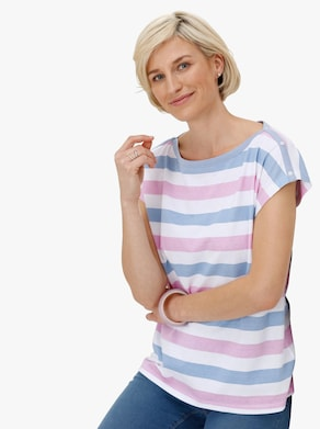 Tričko - růžová-modrá-proužek
