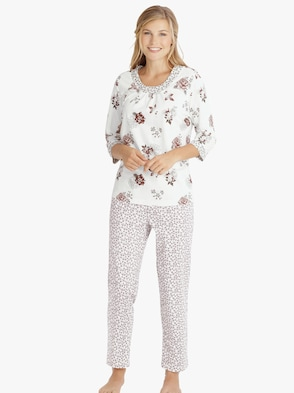 Schlafanzug - weiß-bedruckt