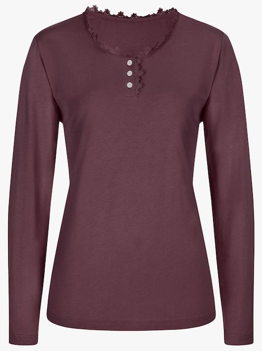 wäschepur Schlafanzug-Shirt - bordeaux