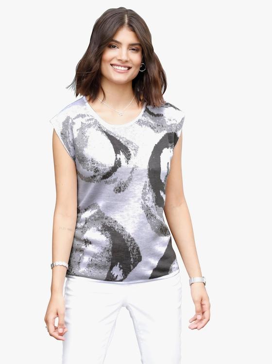 Pullover - grijs gedessineerd