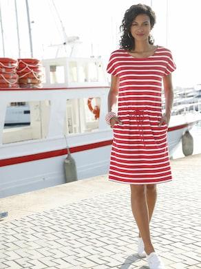 Collection L Jersey-Kleid - rot-weiß-gestreift