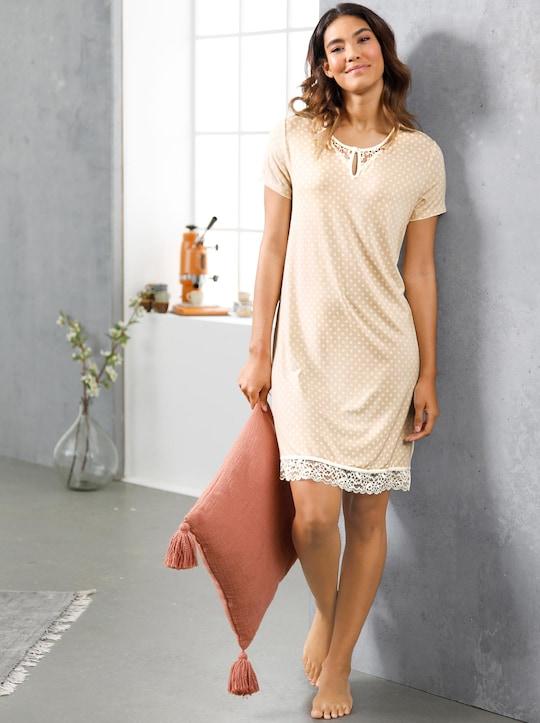 wäschepur Nachthemd - elfenbein-gepunktet