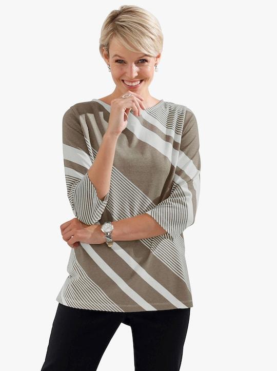 Shirt - taupe gestreept
