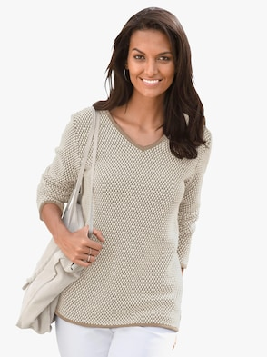 Pullover - taupe-weiß