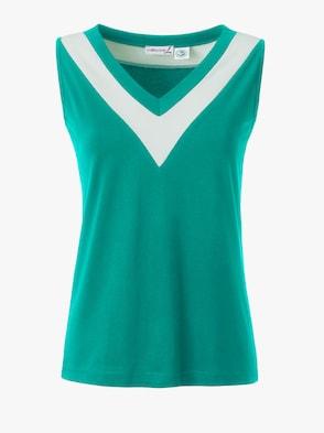 Shirttop - smaragd-weiß