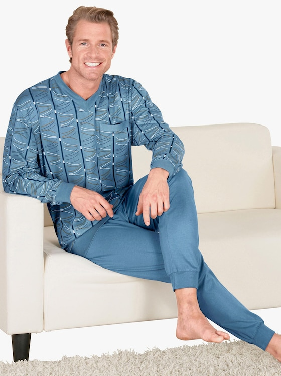 Schlafanzug - blau-gemustert