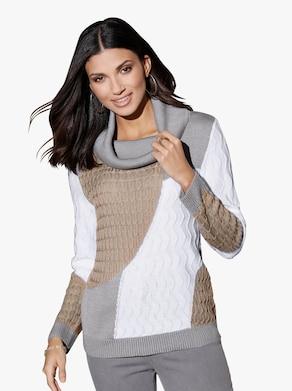 Pullover - beige gedessineerd