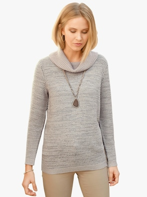 Pullover - taupe-meliert