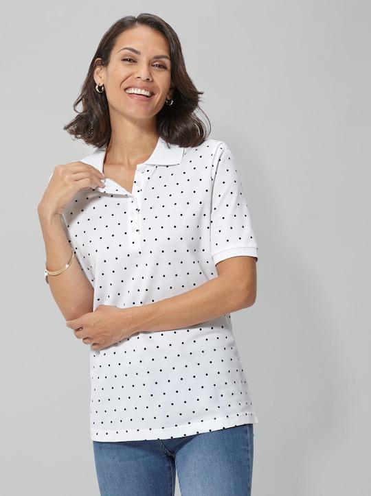 Poloshirt - weiß-getupft