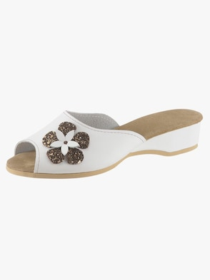 Pantoffel - weiß-braun