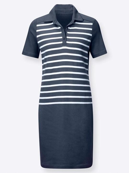 Jersey-Kleid - marine-gestreift