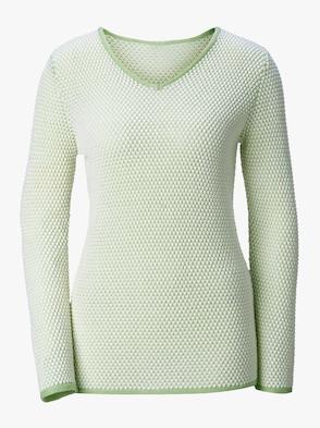 Pullover - lindgrün-weiß