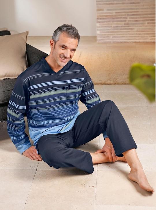 Hajo Schlafanzug - marine-geringelt