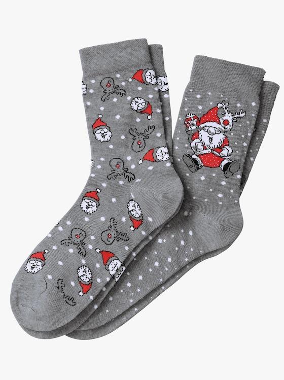 wäschepur Socken - grau-rot
