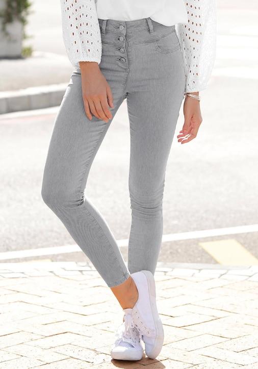 LASCANA High-waist-Jeans - grau