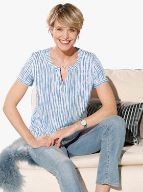 Comfortabele blouse - bleu geprint