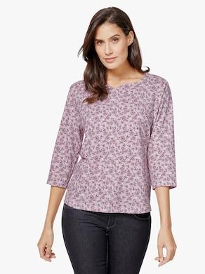 Shirt - rosé-weiß-bedruckt