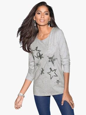Shirt - grau-meliert bedruckt