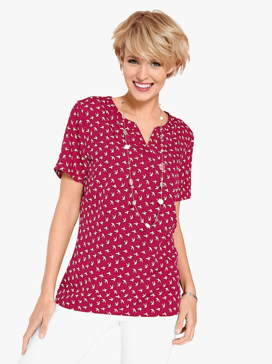 Comfortabele blouse - rood/wit