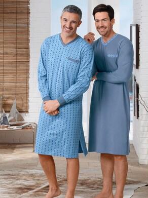Nachthemden - blau + blau-bedruckt