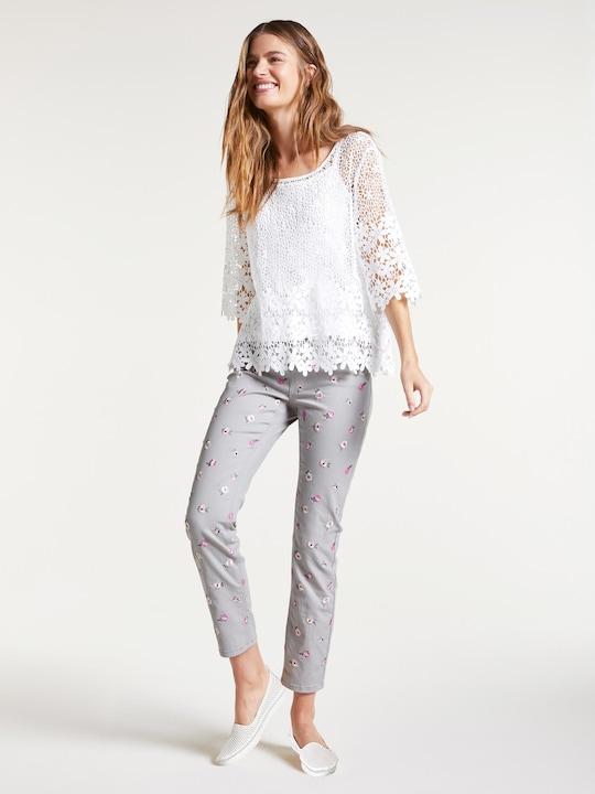 Linea Tesini Spitzen-Bluse - weiß