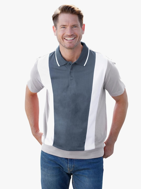 Poloshirt - hellgrau-meliert-weiß-rauchblau