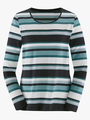 Shirt - mint-grau-geringelt