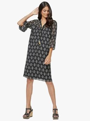 Kleid - schwarz-ecru-bedruckt